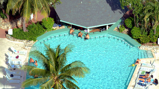 Aerial view of pool with swim up bar and snack shack