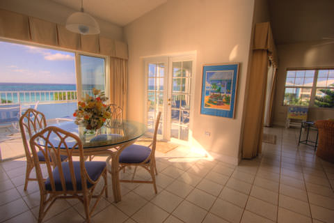Sun shines through picture window into diningroom