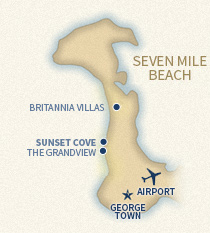 Sunset Cove location on island map